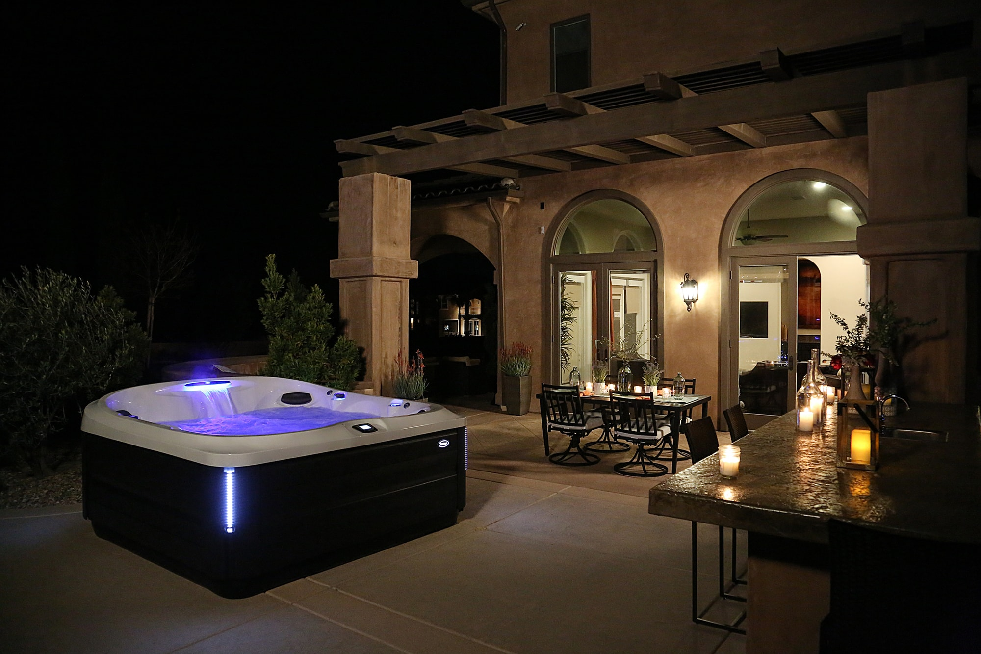 Jacuzzi J-400 Collection Hot Tub Installation at Night